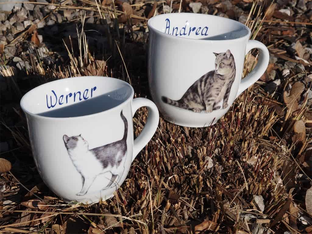 Porzellan Namenstasse Becher Mirek 400 ml Tigerkatze u grauweise Katze