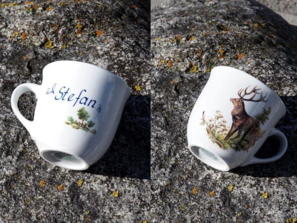 Namenstasse Mirek 400 ml mit Hirsch